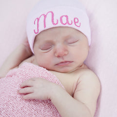 Sweet Heart Font Solid Pink Personalized Newborn GIRL hospital hat with PINK Letters icon