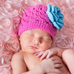 May Flowers Pink Knit Hat with Blue Flower icon