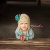Tan and Turquoise Pretty Aviator Flower Earflap Beanie for Baby and Toddler Girls