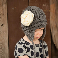Charcoal Grey and Cream Pretty Aviator Flower Earflap Beanie for Baby and Toddler Girls icon