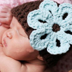 Mint Chocolate Flower Crochet Beanie Baby Hat