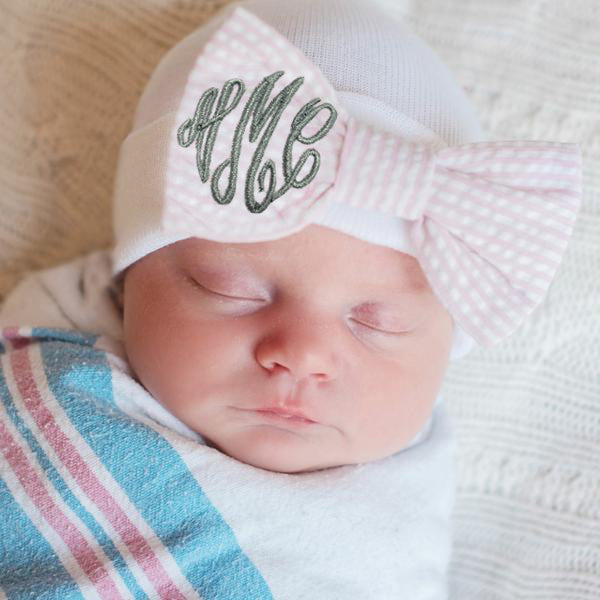 Seersucker Monogrammed Bow Newborn Girl Hospital Hat