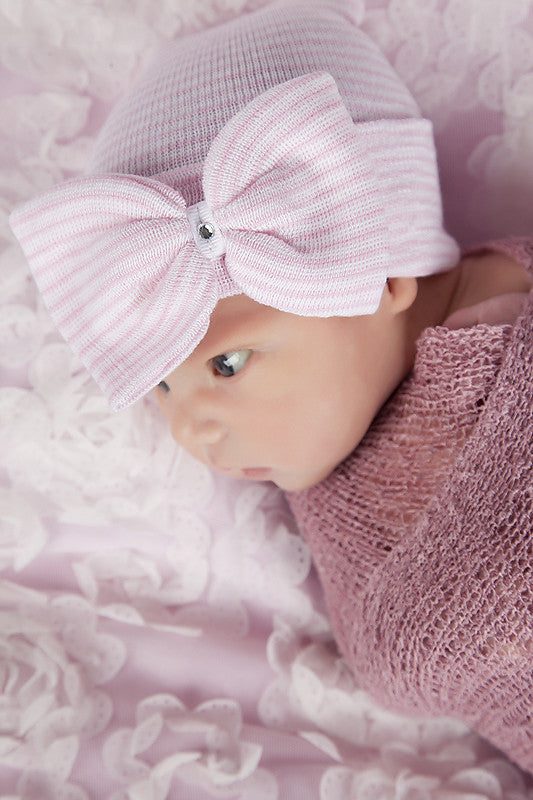 Pink and White Striped Nursery Big Bow with Gem Newborn Girl Hospital Hat