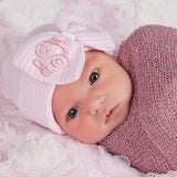 Monogrammed White Ribbon Center So Sweet Striped Nursery Newborn Girl Hospital Hat