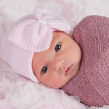 White Ribbon Center So Sweet Striped Nursery Newborn Girl Hospital Hat - Striped Hospital Hat