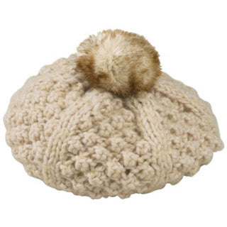 ... Toddler Girl Beret Oatmeal Hat with Fuzzy Pom Pom ... f9d23815b2c3