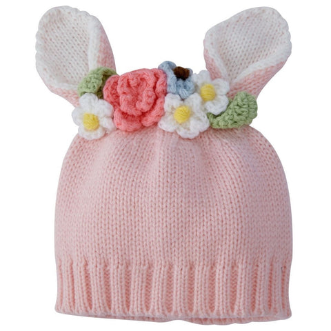 a0cb0c66925 ... Pink Bunny and Flowers Baby Hat - Easter Hat