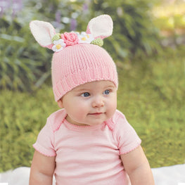 834d1541596 Pink Bunny and Flowers Baby Hat - Easter Hat