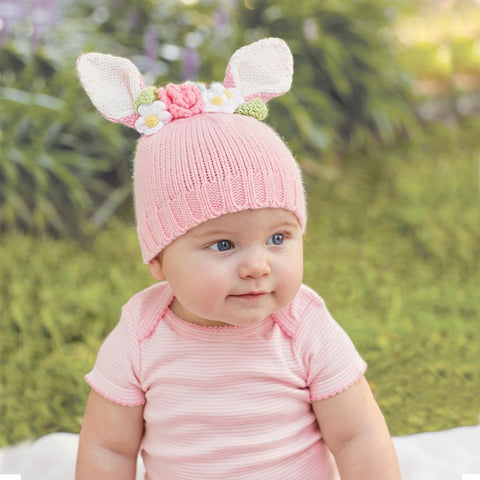 Pink Bunny and Flowers Baby Hat - Easter Hat