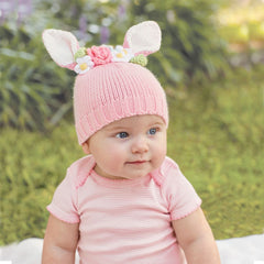 Pink Bunny and Flowers Baby Hat - Easter Hat icon