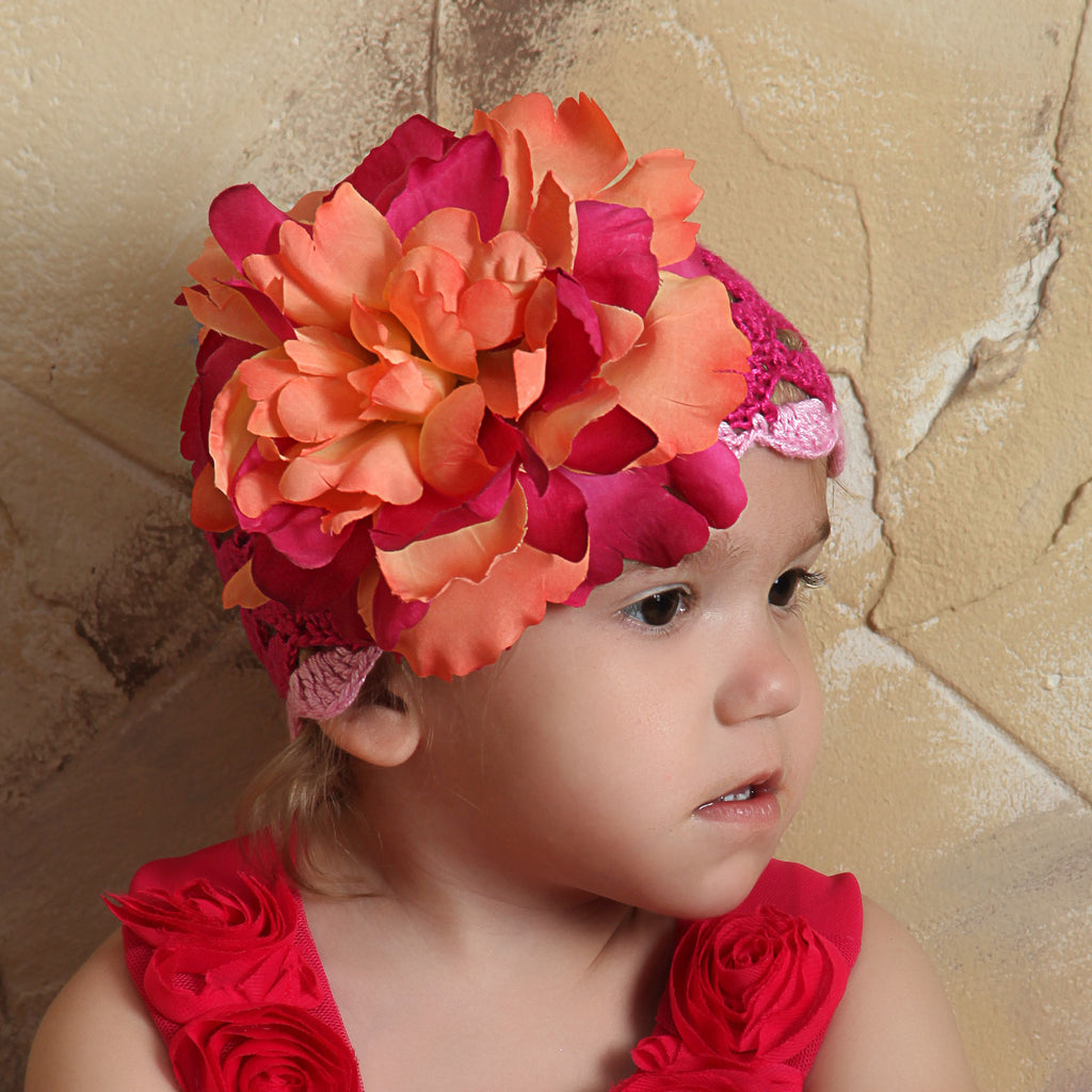 Passion Fruit and Raspberry Crochet Flower Baby Girl Hat