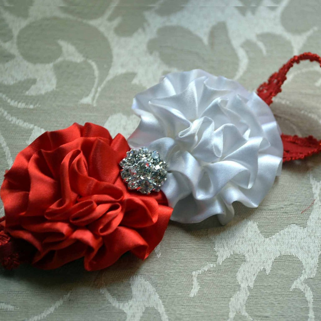 Red and White Sparkle Headband