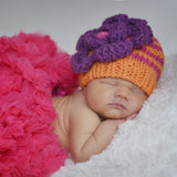 Orange Zest and Pink Striped Beanie for Baby or Toddler Girl