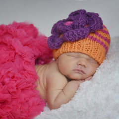 Orange Zest and Pink Striped Beanie for Baby or Toddler Girl icon