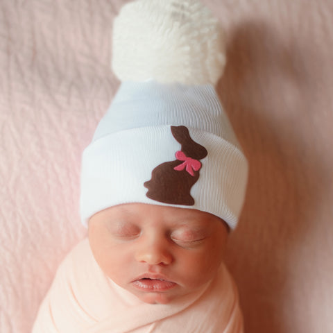 Pink Ribbon Chocolate Bunny Pom Pom Newborn and Baby Girl Hat
