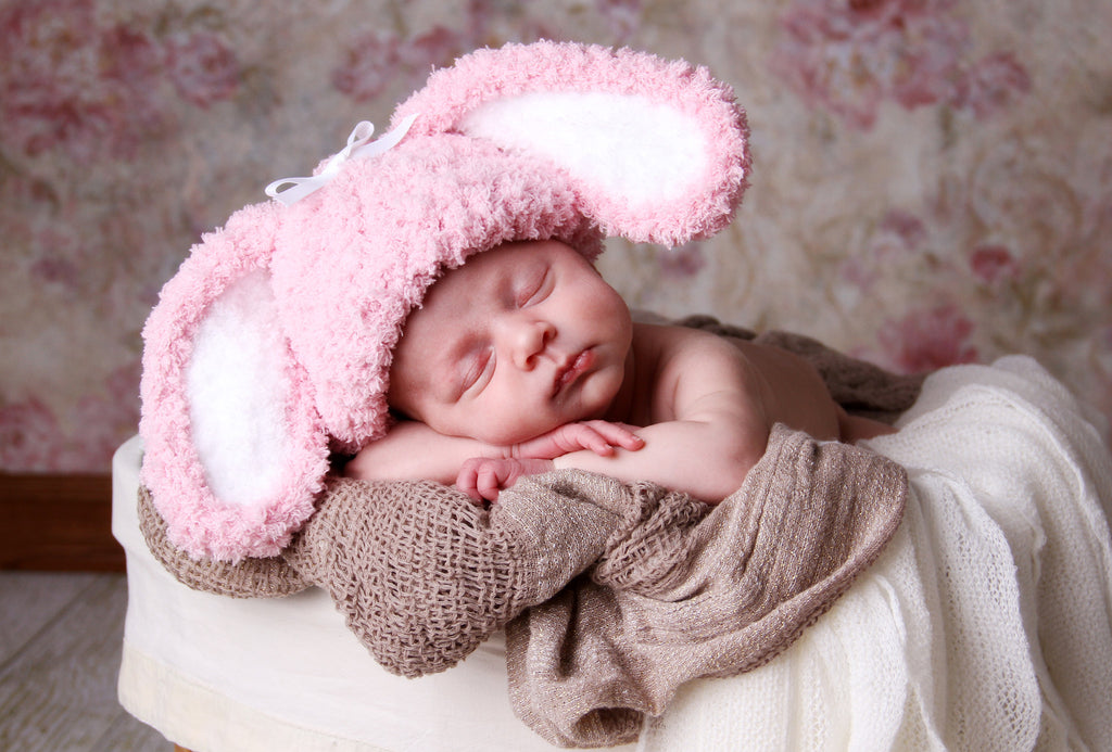 Pink Fluffy Bunny Hat for Newborn and Baby Girls