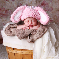 Pink Fluffy Bunny Hat for Newborn and Baby Girls icon