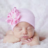 Jeweled Pink Silk Flower Newborn Girl Hospital Hat - Nursery Beanie