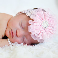 Pink Lace Flower Headband with Pearl Bracelet SET - Newborn Girls icon