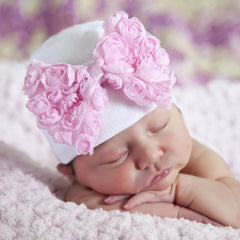 Sweet Pink Rosette Bow Newborn Girl Hospital & Nursery Hat icon