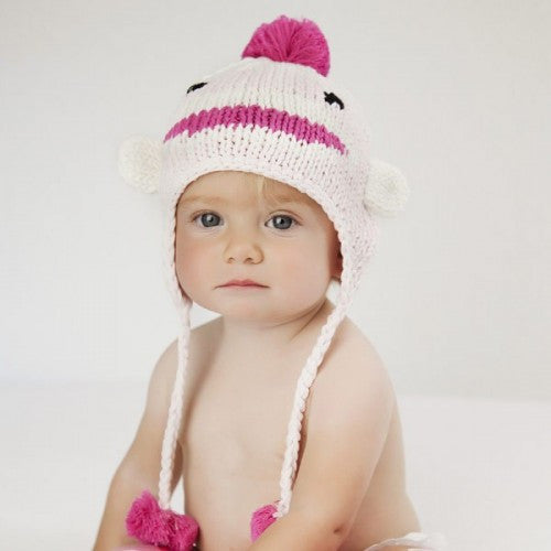 Soft Pink Sock Monkey Baby Girl and Toddler Girl Hat