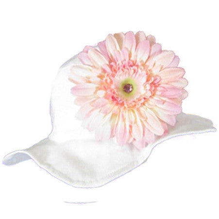 Soft Pink Daisy Baby White Sun Hat