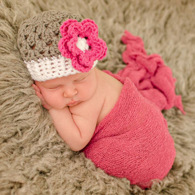 Gorgeous Grey and Pink Flower Baby Girl Beanie