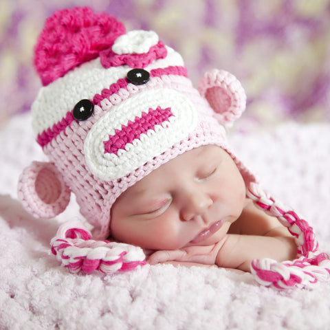 Candy Pinks Baby Girl Sock Monkey Hat