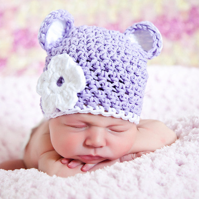 Lilac Sugar Bear Beanie Hat for Baby and Toddler Girls