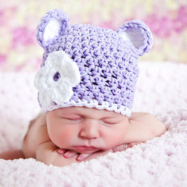 aa422b609c5 Pale Pink Lace and Chiffon Flower White Crochet Baby Girl Hat