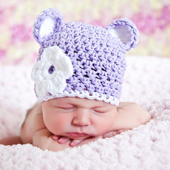 Lilac Sugar Bear Beanie Hat for Baby and Toddler Girls icon