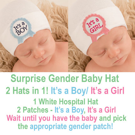 It's a Boy/It's a Girl Surprise Ribbon Gender Baby Hospital Hat - White Hat with 2 ribbon patches