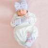 Striped Traditional Receiving Nursery Hat, Mittens and Booties SET for Newborn Girls