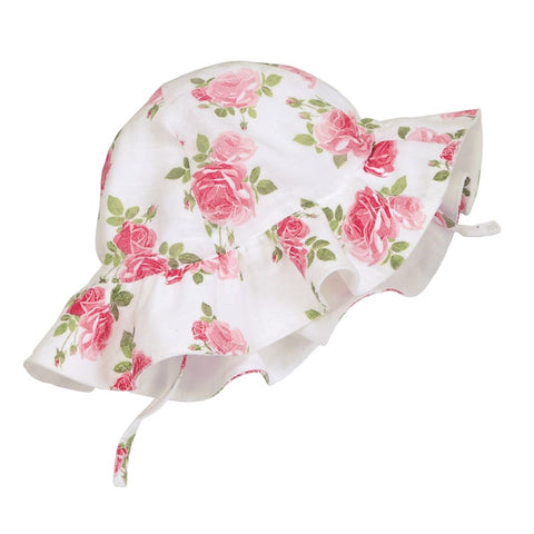 Soft Muslin Summer Roses Baby Girl Sun Hat - Baby and Toddler Girls