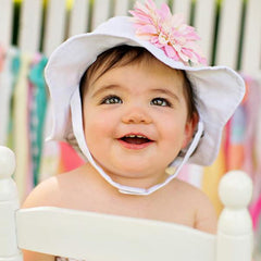 Soft Pink Daisy Baby White Sun Hat icon