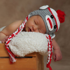 Sweet Sock Monkey Grey and Red with Braids icon