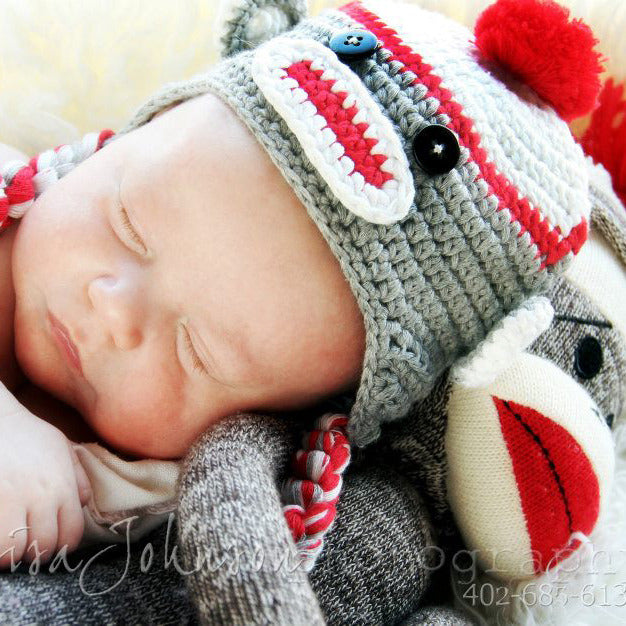 Sweet Sock Monkey Grey and Red with Braids