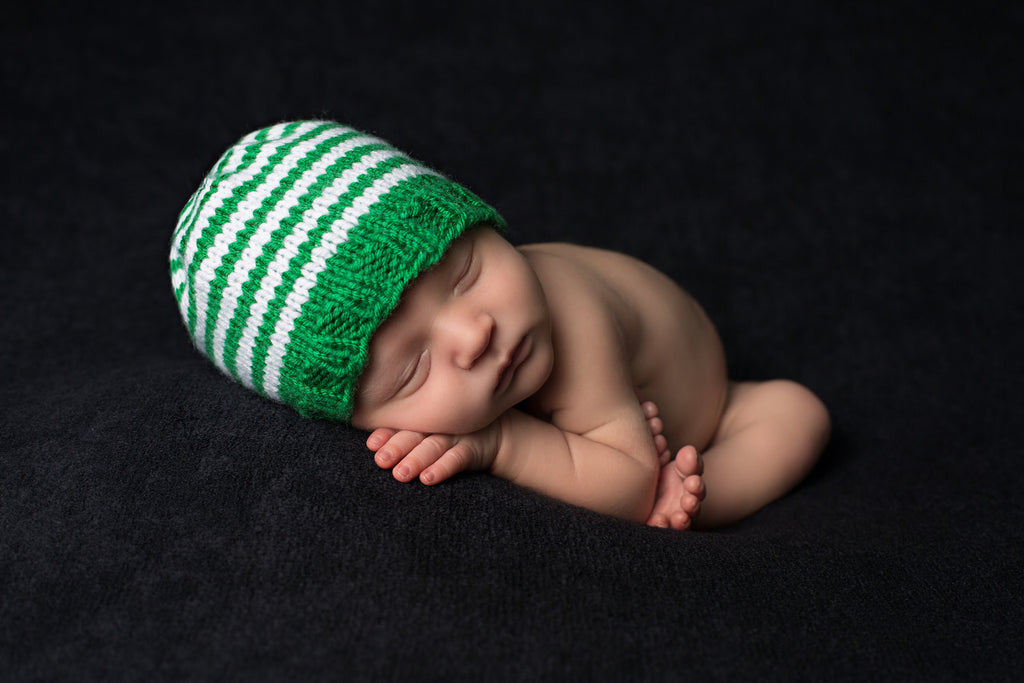 Lucky Green Striped Baby Boy Beanie