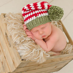 Ho Ho Ho Striped Christmas with Green Pom Pom Baby Hat icon