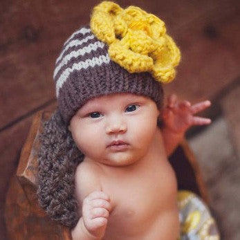 Baby Bumble Bee Flower Beanie for Baby or Toddler Girl