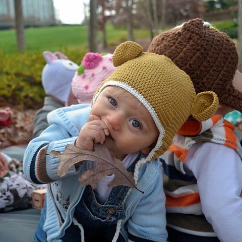 Organic Tan Crochet Baby Bear with Ears Animal Hat