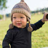 Theo Brown Intarsia Knit Baby Boy Beanie  - Fully Cotton Lined with ear flaps