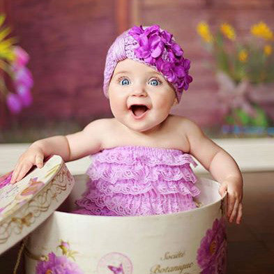 Little Lavender Turban with Purple Geranium Petals Baby Girl Hat