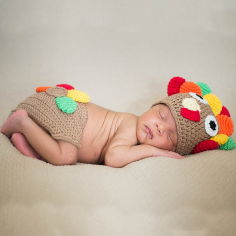 Little Turkey Hat and Diaper Cover Thanksgiving Set - Newborn Set Gender Neutral