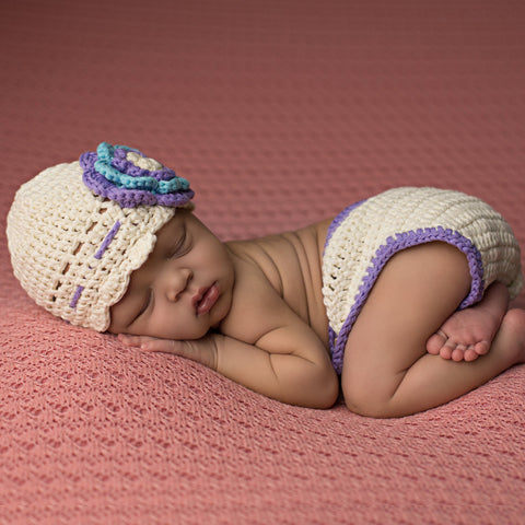 Flora Flower Vintage Hat and Diaper Cover Set for Newborn Girls