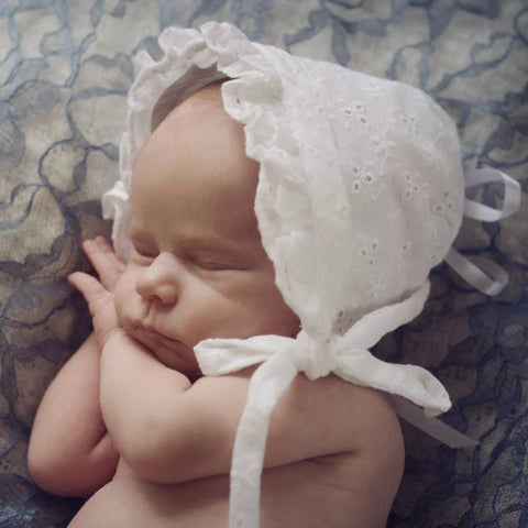 White Eyelet Baby Girl's Bonnet