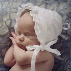 White Eyelet Baby Girl's Bonnet icon