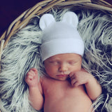 Baby Bear White Newborn Boy or Girl Hospital Hat - Gender Neutral