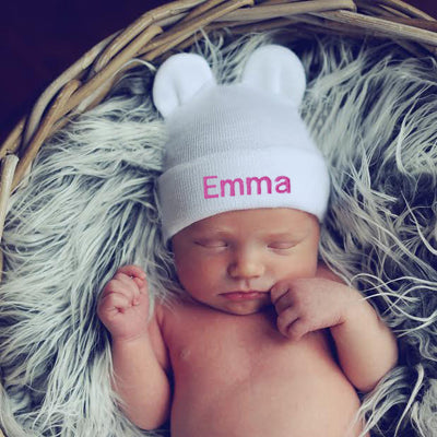 White Girl Personalized Baby Bear Newborn Boy Hospital Hat - Pink, Purple, Blue Letters