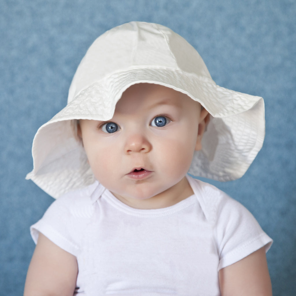 Pure White Organic Baby Sun Hat - Personalization Option